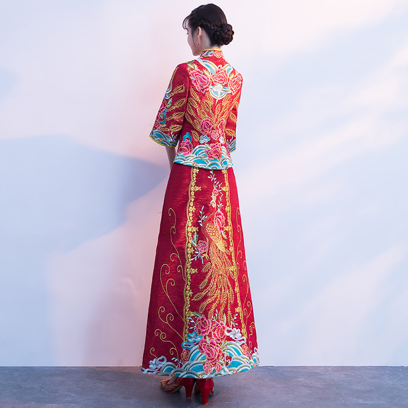 Luxury ancient Royal Red Chinese wedding Traditional Dress Vintage Xiuhe Bride Wedding Summer Phoenix Cheongsam