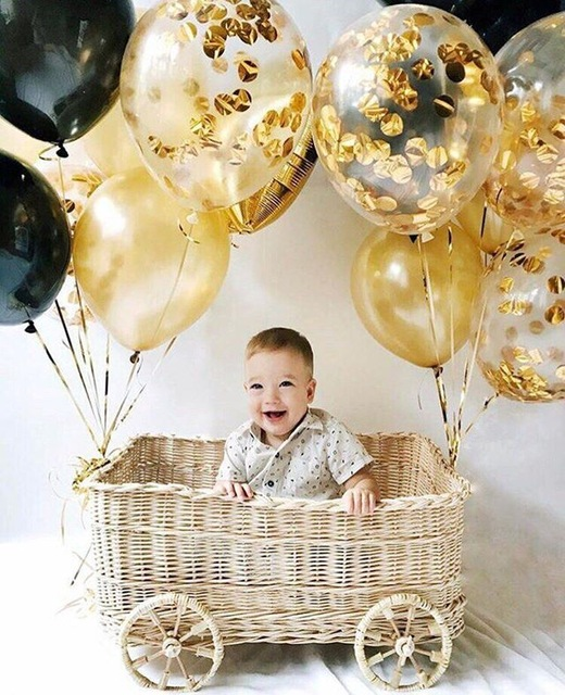 12pcs/lot 12inch Round Golden Black Latex Balloons Multicolor Confetti Filled Clear Balloons Birthday Party Baby Shower Decor