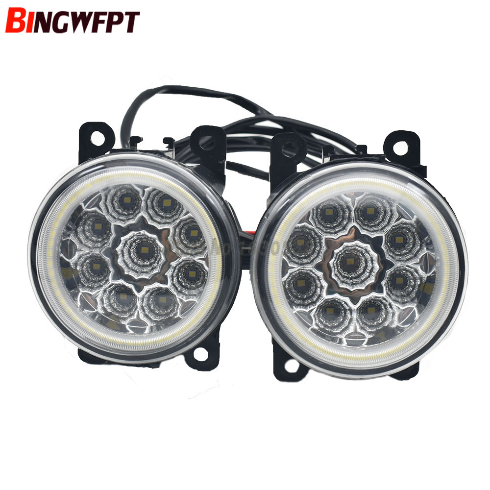 2pcs Car LED Lamp H11 Fog Light with Angel Eye DRL Daytime Running Light 12V For