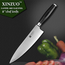 XINZUO 8 inch chef knife three layers 440C clad steel kitchen knives micarta handle cleaver knife kitchen tackle free shipping