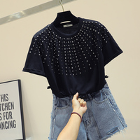 Heavy Industry Diamond T Shirt Women's Korean Style Black Shirt Girl Students Basic Shorts Coat T Shirt Tee Female Tops Tee