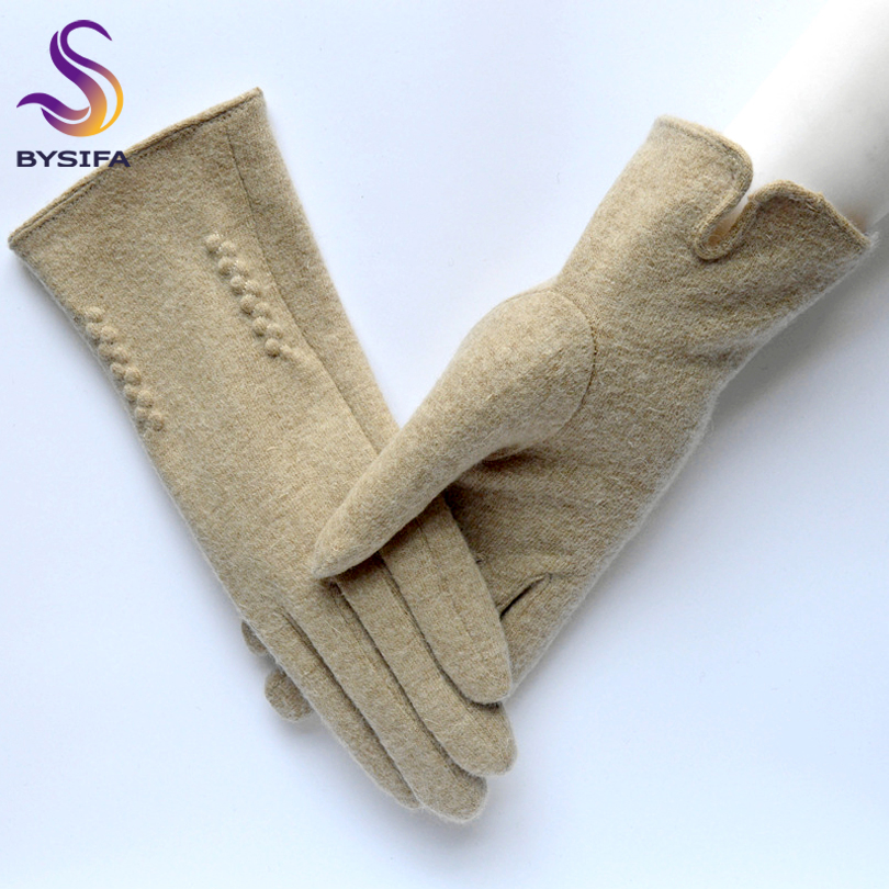 [BYSIFA] Beige Women Wool Mittens Gloves Fashion Trendy Opening Design Female Gloves Top Quality Elegant Thick Warm Soft Gloves
