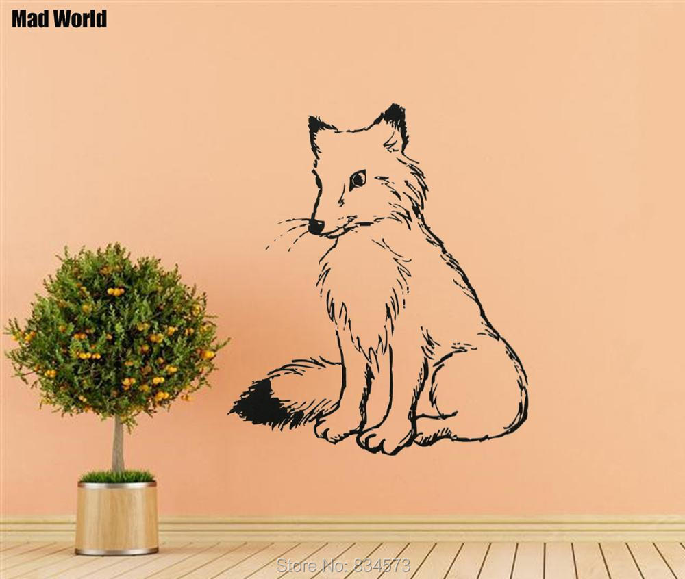 Mad World Cute Fox Animal Silhouette Wall Art Stickers Wall Decal ...