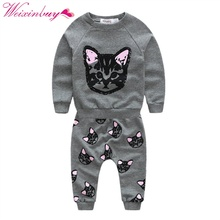 Spring Autumn Kids Girls Clothes Boys Clothing Sets Cute Cat Print Cartoon Long Sleeve Cotton Children