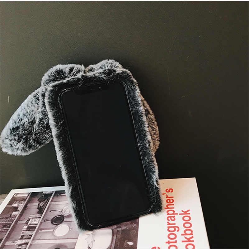 Роскошная ручная работа кролик пушистых животных волос чехол для телефона для samsung A8 A7 2018 A6 плюс A9 star lite зимние мягкие теплые A6 плюс A8s A9S