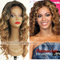 Fashion Glueless Ombre Black Blonde Weave Heat Resistant Hair Loose Curly Synthetic Lace Front Wig for Women Fast Delivery