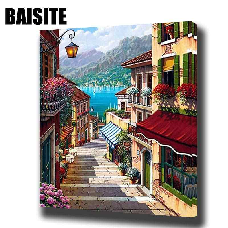 BAISITE DIY ממוסגר שמן ציור נוף תמונות בד ציור לסלון קיר אמנות בית תפאורה E730
