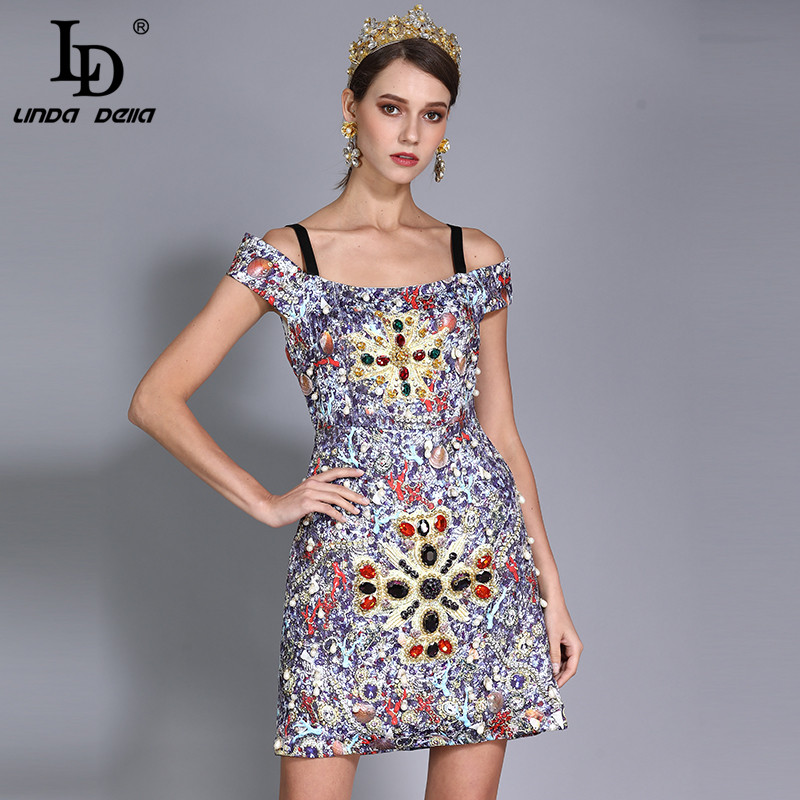 Kadın Giyim'ten Elbiseler'de LD LINDA DELLA Yeni Moda Pist Tasarımcısı yaz elbisesi kadın Lüks Kristal Elmas Boncuk Baskılı Vintage Elbise'da  Grup 1