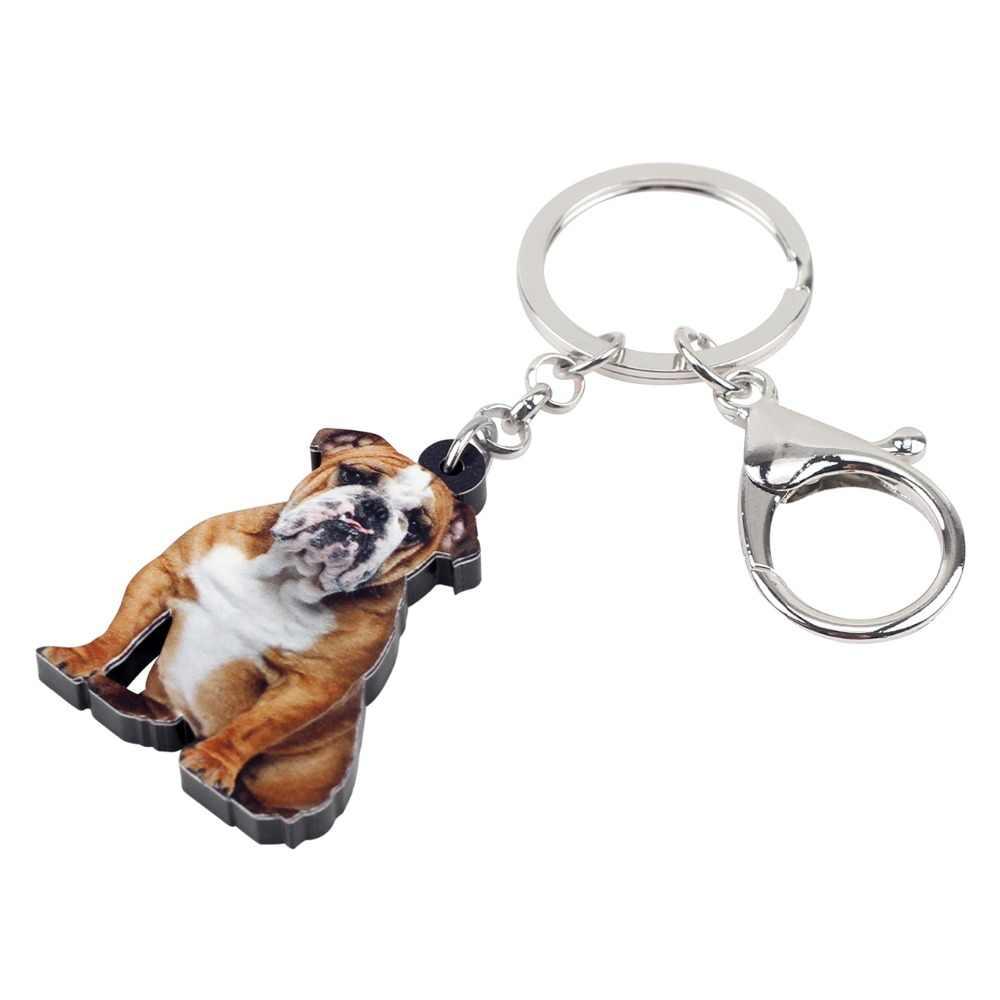 Bonsny instrução acrílico sentado britânico bulldog pug cão chaveiros chaveiro anéis presente para as meninas adolescentes bolsa encantos presente