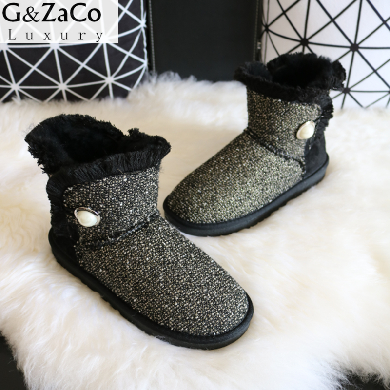 G&Zaco Luxury Women Winter Sheep Fur Snow Boots Pearl Fabric Short Boots Low Warm Ladies Flat Natural Wool Sweet Snow Shoes wize vwfw47