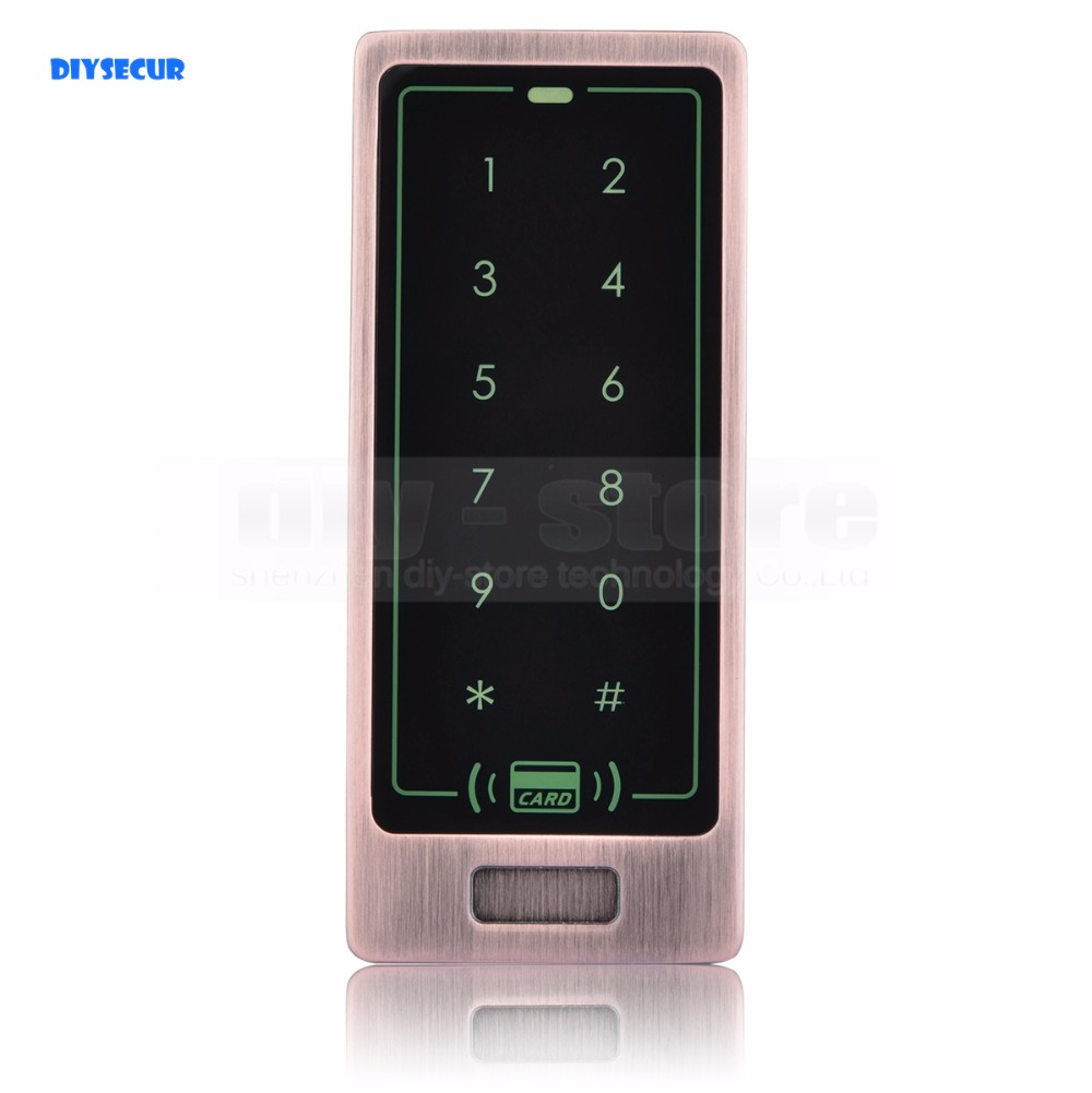DIYSECUR 125KHz Touch Button Backlight Door Access Controller RFID Card Reader Metal Case Password Security Keypad