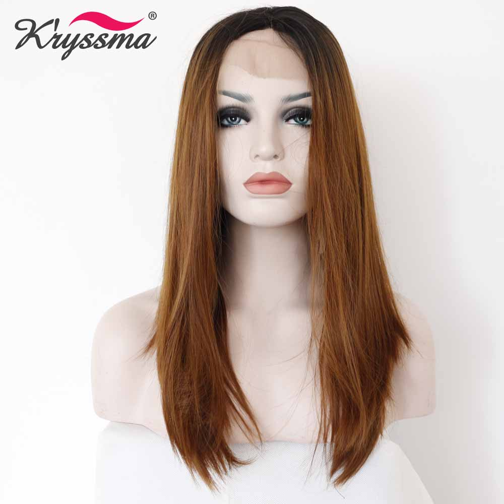 Brown Synthetic Lace Front Wig Ombre Wig Dark Roots to Brown Medium Straight Wigs for Women