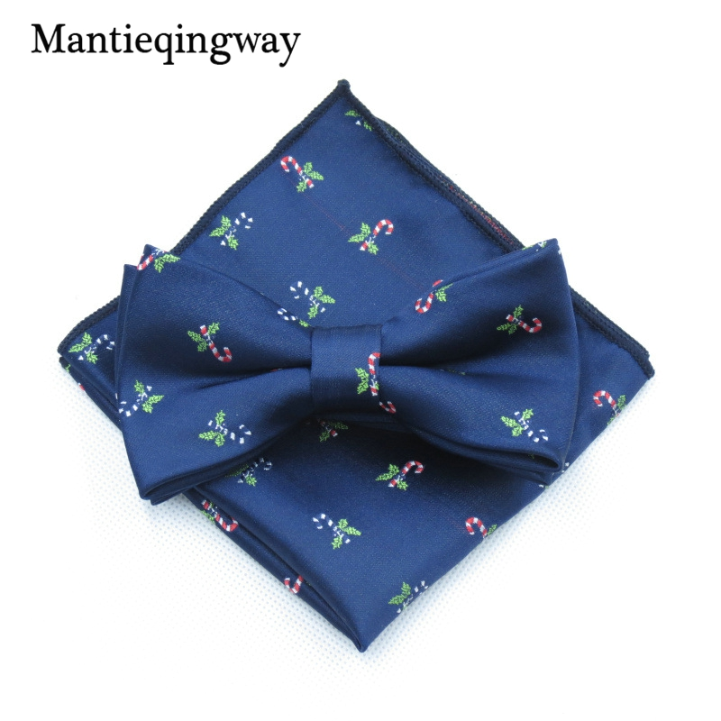 Mantieqingway Polyester Christmas Tie Set For Men Brand Bowtie Hanky Christmas Bell Pocket Square Mens Suit Fashion Accessories