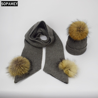 Children Knitted Scarf And Hat Set Luxury Winter Warm Crochet Hats And Scarves With Real Fur