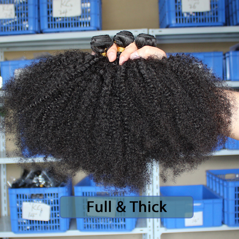 Mongolian Afro Kinky Curly Weave 4B 4C 100% Natural Virgin Black - Cabello humano (negro) - foto 2
