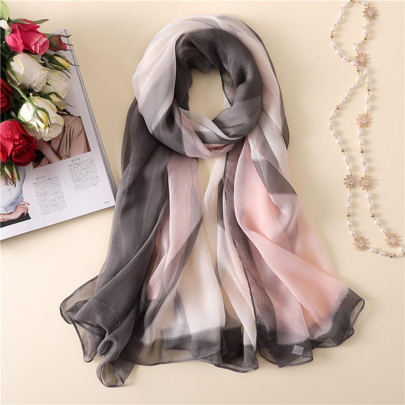 e19b968e15162 Women Silk Scarf Fashion Ombre Echarpe Wrap Female Luxury Chiffon Scarves  Foulard Beach cover up 180*145cm-in Women's Scarves from Apparel  Accessories on ...