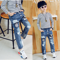 Высокое качество Новый 2017 Осень Подростки Джинсы Эластичный Пояс мода детские джинсы Эластичный Пояс Джинсовой Длинные Брюки горячей продажи