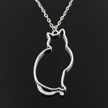 Hollow Cat Silhouette Chain Necklace
