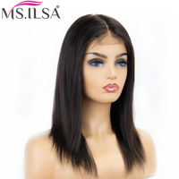 Straight Lace Front Wig 6 Inch Human Hair Lace Wigs For Black Women 130% Density Brazilian Remy Hair Lace Wigs Full End MS.ILSA