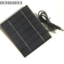 BUHESHUI 2W 6V Solar Panel+5521DC Output  Solar Cell Module Battery System Charger For 3.7V Led Light 110*136MM 10pcs
