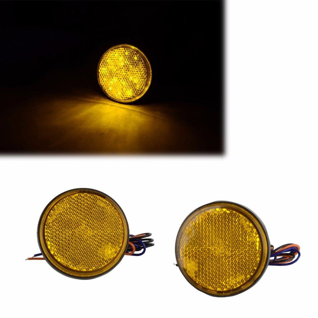 2 x יוניברסל צהוב 24 LED אופנוע עגול סיבוב - אופנוע אביזרים וחלקים