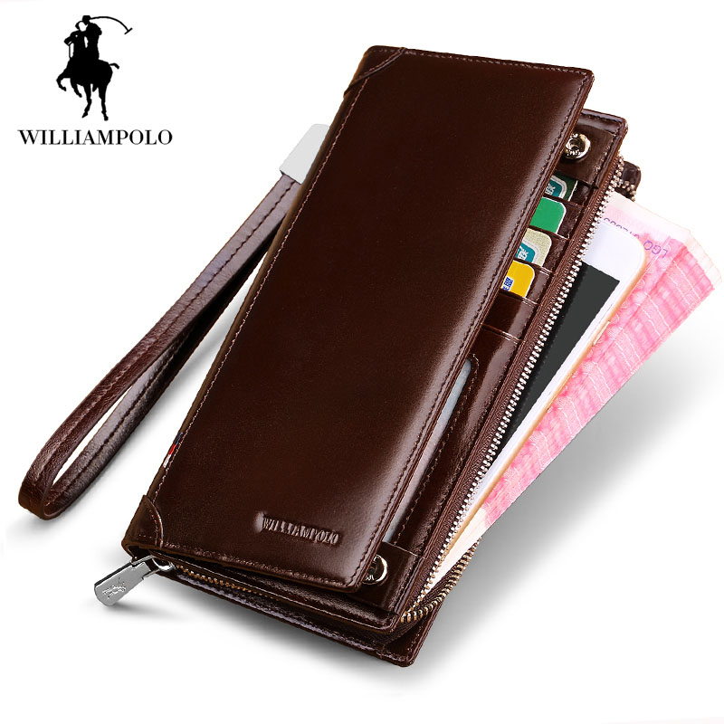 Brown Zipper Wallet Men Vintage Leather long Coin Purse Fashion High Quality Designer ID Credit Card Holder Purse Male Wallet new genuine leather men long wallets 2017 brand designer credit card holder purse high quality coin pocket zipper wallet for men