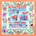 130*130cm fashion lady women 100% silk scarf autumn winter spring large square floral print womens capes and ponchoes
