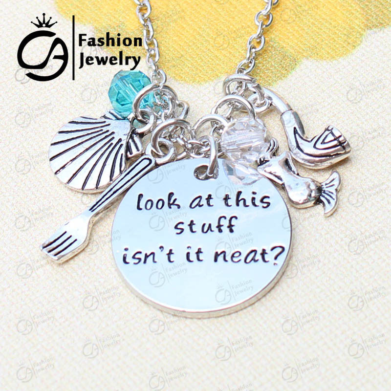 US $2.9 |Little Mermaid Engraved Inspired Inspirational Quotes Pendant  Charms Necklace Gift Jewelry-in Chain Necklaces from Jewelry & Accessories  on ...