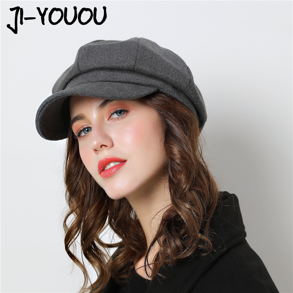 Women   Baseball     cap   Hat For Winter Female Cotton Wool Hats Vintage Fashion Wool Autumn 2018 Brand New Women's   Caps