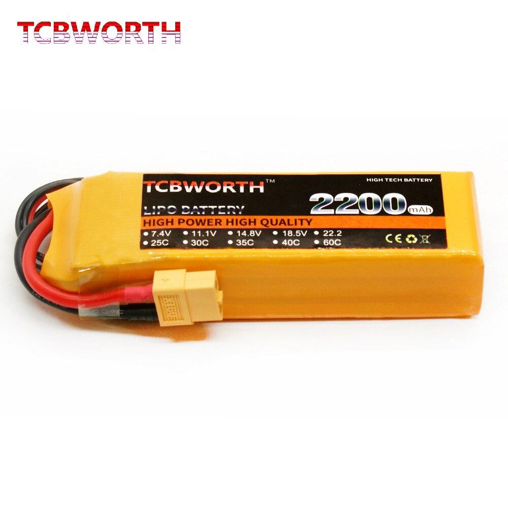 TCBWORTH RC Lipo batería 3 s 11,1 V 2200 mAh 25C para Avión Helicóptero Drone
