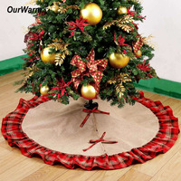 Ourwarm Pastoral Style Christmas Tree Skirts 48inch Burlap Black And Red Plaid Ruffle Edge Christmas Tree