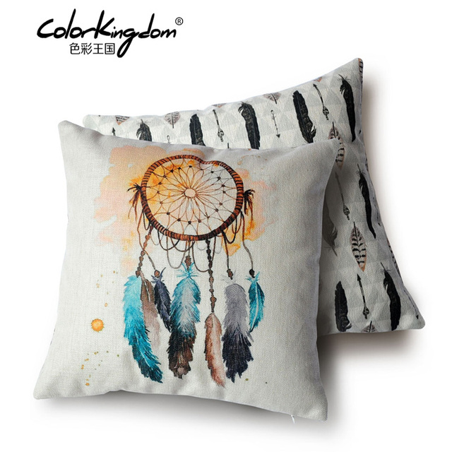 45cmx45cm Watercolor Catch Feather Sided Print Cushion Tribal Culture Cover Sofa Whole Decorative