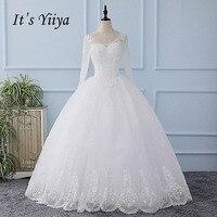 It's YiiYa New O-neck Long Sleeves White Seqins Lace Wedding Dresses Floor Length Bride Gowns Vestidos De Novia Casamento XL602