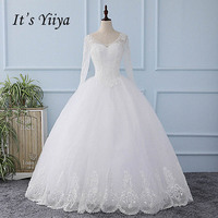 It's YiiYa New O neck Long Sleeves White Seqins Lace Wedding Dresses Floor Length Bride Gowns Vestidos De Novia Casamento XL602