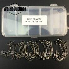 50Pcs/box Carbon Steel Crank Hooks Set 5 Size 1# 2# 1/0# 2/0# 3/0# Single Hook Fishhooks with Storage Box anzol Para Pesca