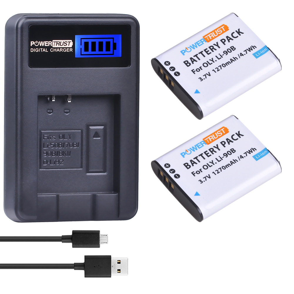 2 Pack LI-90B LI 90B LI90B LI-92B Camera Battery + LCD USB Charger For Olympus Tough TG-1 IHS TG-2 IHS TG-3 TG-4 SH50 IHS SH60