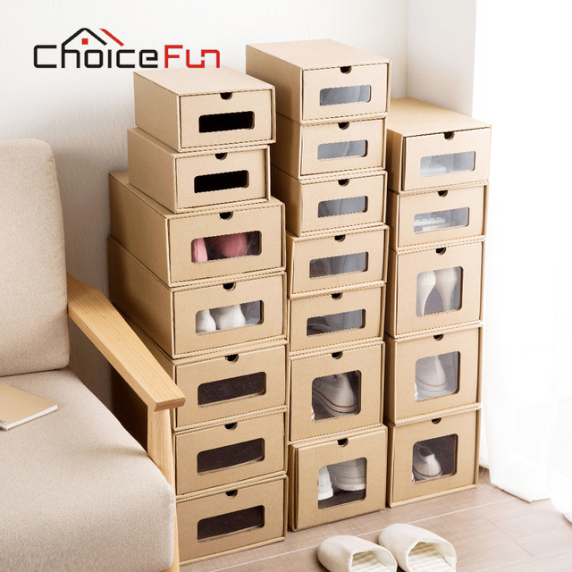 Choicefun Closet Cabinet Clear Visible Drop Front Shoes Organizer Container Foldable Kraft Paper Cardboard Shoe Box For Storage