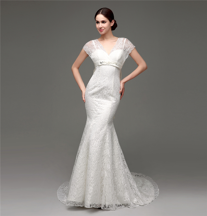 white beautiful lace affordable wedding dress designers modest with short sleeve floor length bridal wedding gown