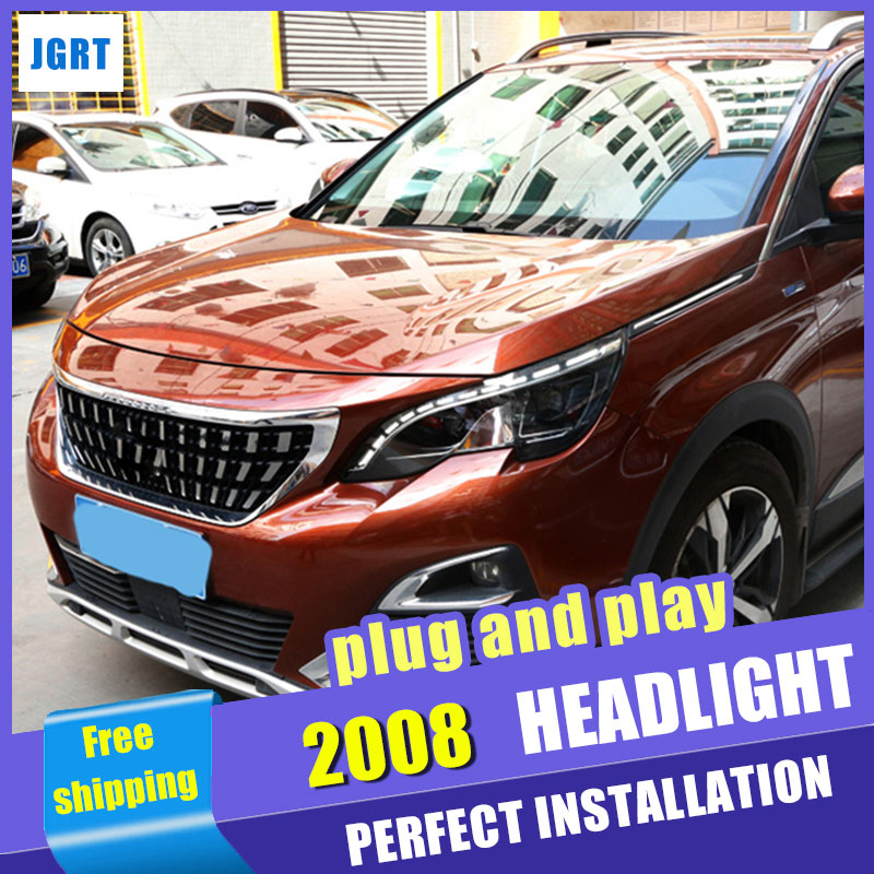Car Styling Headlight assembly 2017 for Peugeot 4008 LED DRL Lens Double Beam H7 hid kit with 2pcs.
