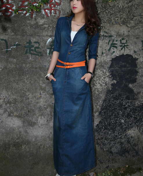 Free Shipping New2017 15summer Style Fashion Wash Jean Long Dress Half Sleeve Dresses With Belt