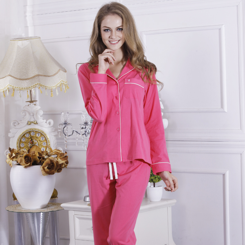 Women 39 s pajamas cotton knit long sleeve pajamas top and Long cotton sleep shirts