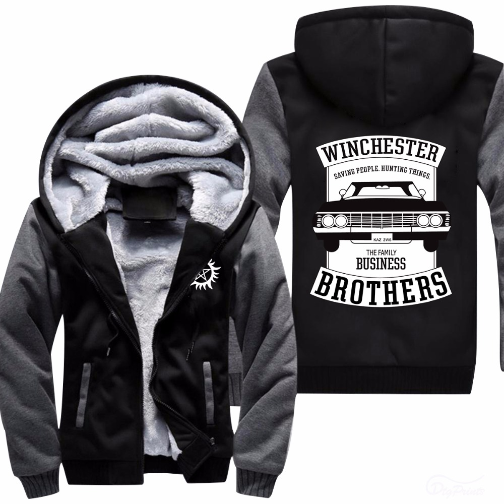 WHCHESTER family brother bussiness Car Printed hoodies 2018 new Warm Thicken Fleece Men s sweatershirts