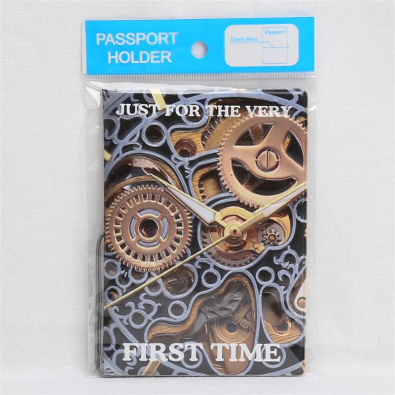 Mechanical Watches Gear Passport Cover ID Card Holder PVC Leather 3D ...