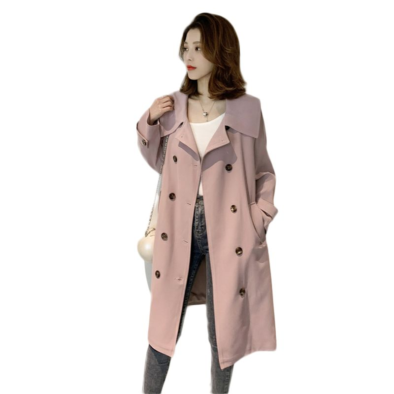 2019 New Arrival Spring Autumn Female Double Breasted Long Trench Coat Women Casual Belt Cloak Windbreaker Ladies Pink Tops M44