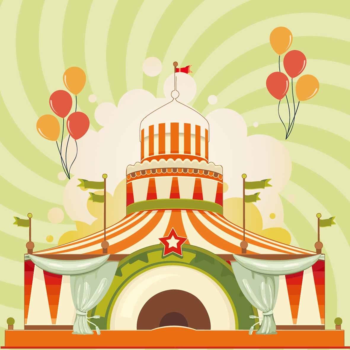 Allenjoy photography backdrops Green Stripes Circus balloon Children ...
