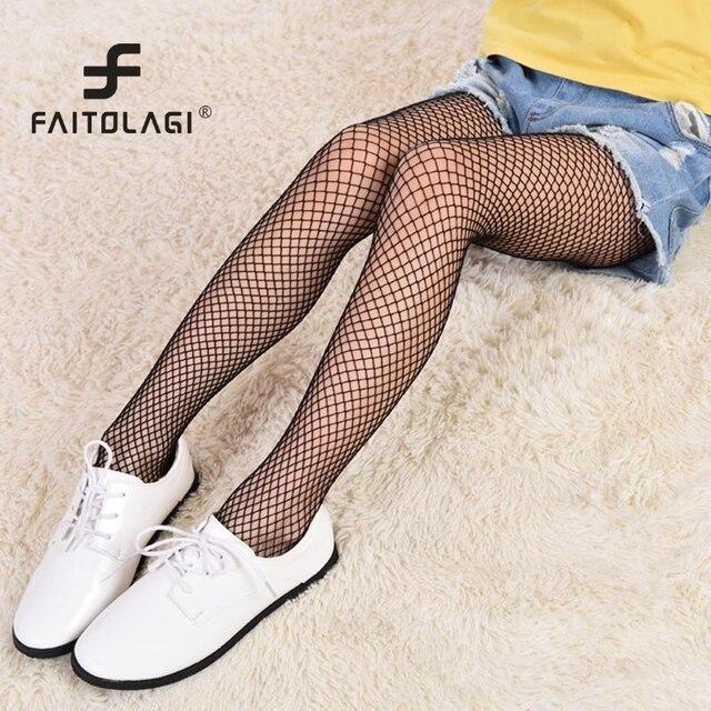 9ff1359c2 Crianças Meninas Moda Verão Malha Padrão meias Calças Justas Jeans Rasgado  Grade Net Meias Crianças Meninas