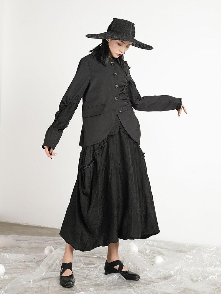 Femmes Lâche 2019 Sur Vintage Asymétrie Irrégulière Décontracté Blazer Manteau Getsring Noir Sauvage Nouvelle Costume Mode Creux Black Femme wanYOwCxqP