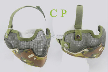 1PCS  Profession CS Mask Tactical Airsoft Paintball Metal Net Mesh Protective Mask Adult Skull Half Face Mask