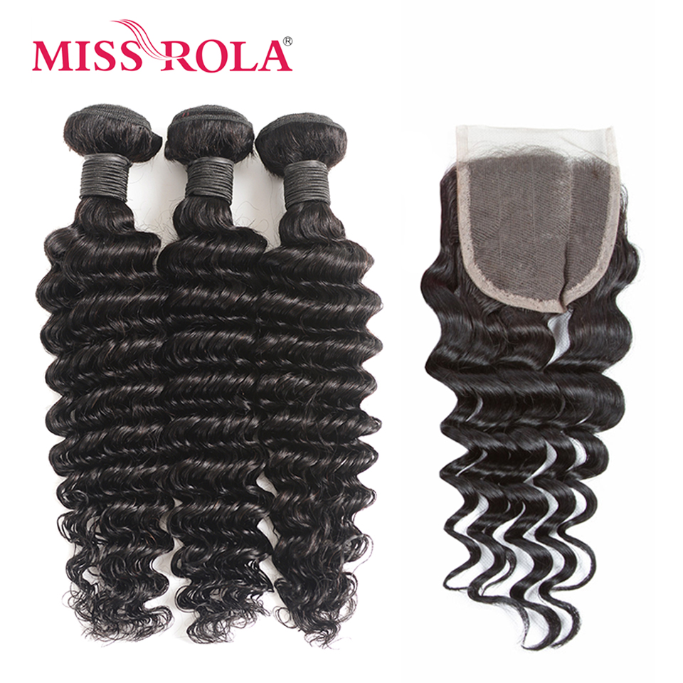 Miss Rola Hair Brazilian Hair Deep Wave Bundles with Closure 8 26 inch Natural Color 100