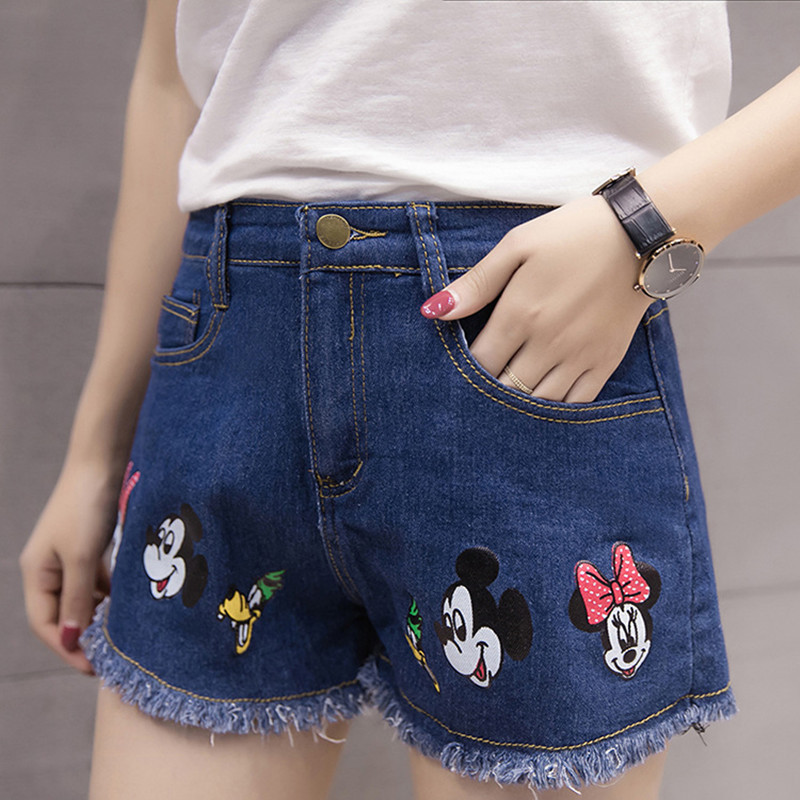 Minnie Mouse Pants Costume Summer new Korean lady version of the trend of cartoon embroidery high waist edge hole denim shorts